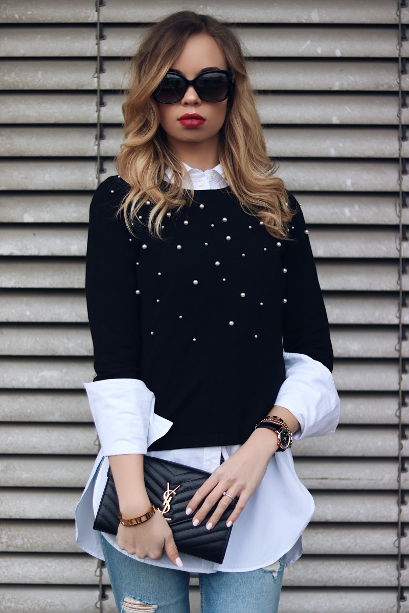 Style, Outfit, Jumper with Pearls, YSL Bag