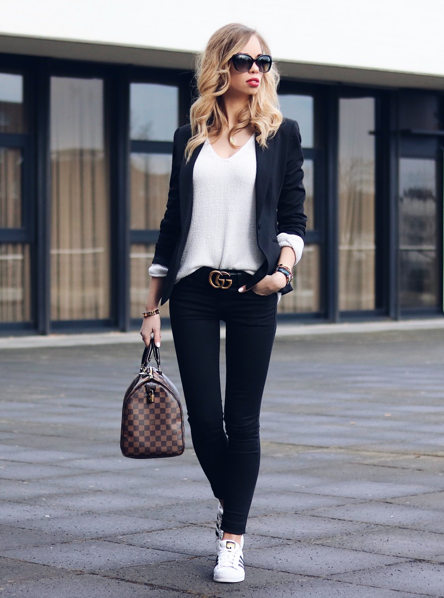Outfit, Black, Blazer, Gucci, Gürtel, Belt, Louis Vuitton Speedy