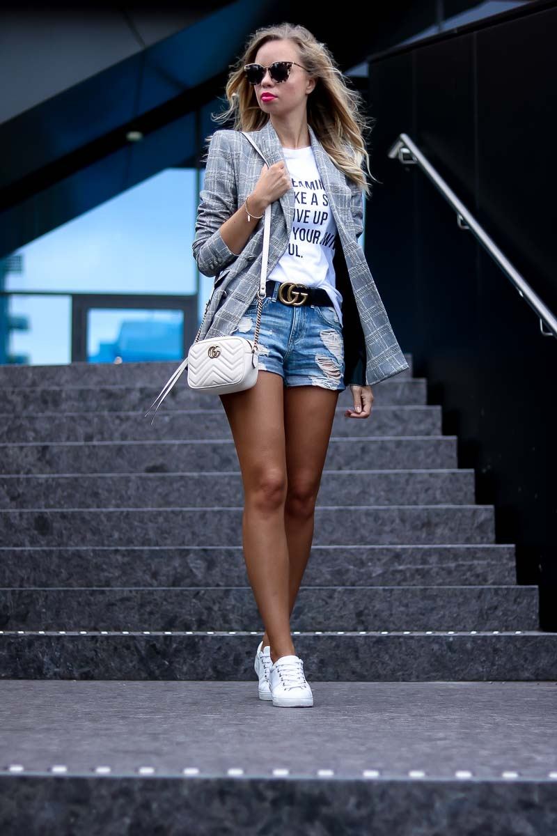 Casual Summer Outfit with Blazer and Gucci Belt