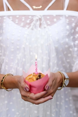 Happy Birthday 1st My Philocaly, Muffin with pink candle