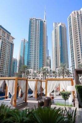 Vida Downtown Dubai sunbeds pool and skyline