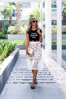 Dubai Outfit: Tshirt and Lace Midi Skirt