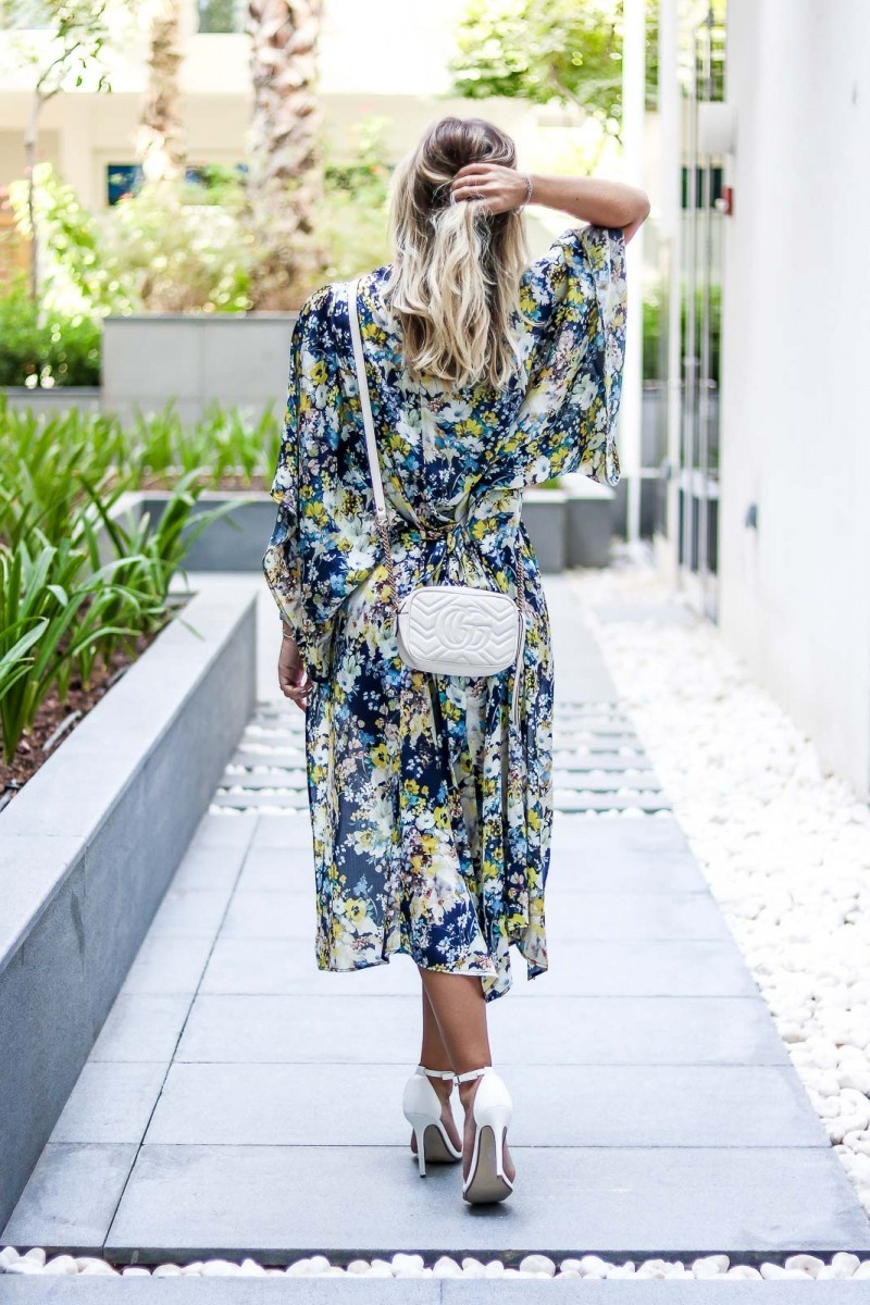 Outfit: Elegant Kimono Style, Skort, Heels, Gucci Marmont
