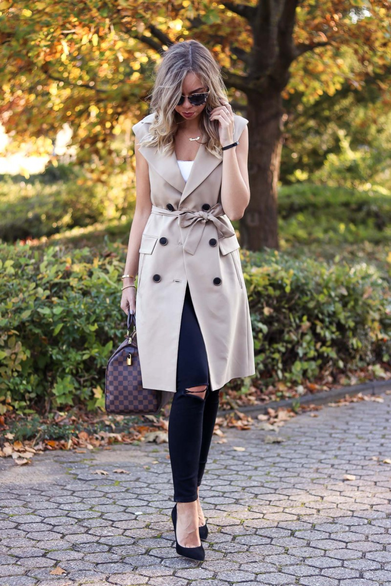 Outfit sleeveless coat, fall, herbst, Trenchcoat, Louis Vuitton Speedy, Shopping Tipps