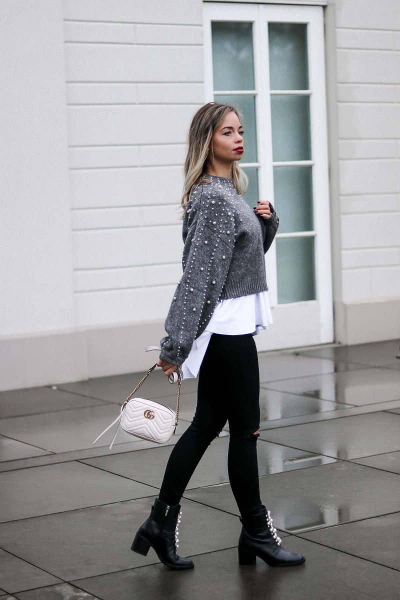 Outfit Shooting - Zara Pearl Jumper, Pearl studded Boots, Gucci Marmont
