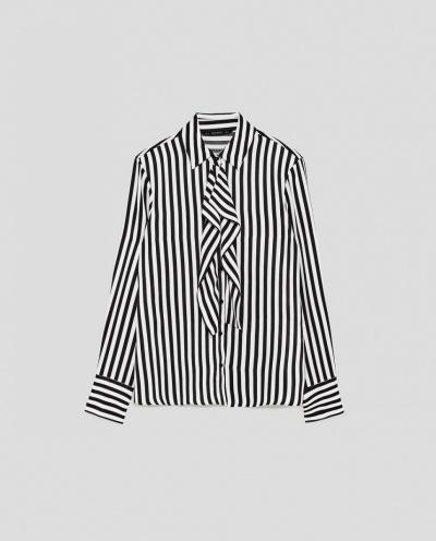 Striped Shirt with Ruffles