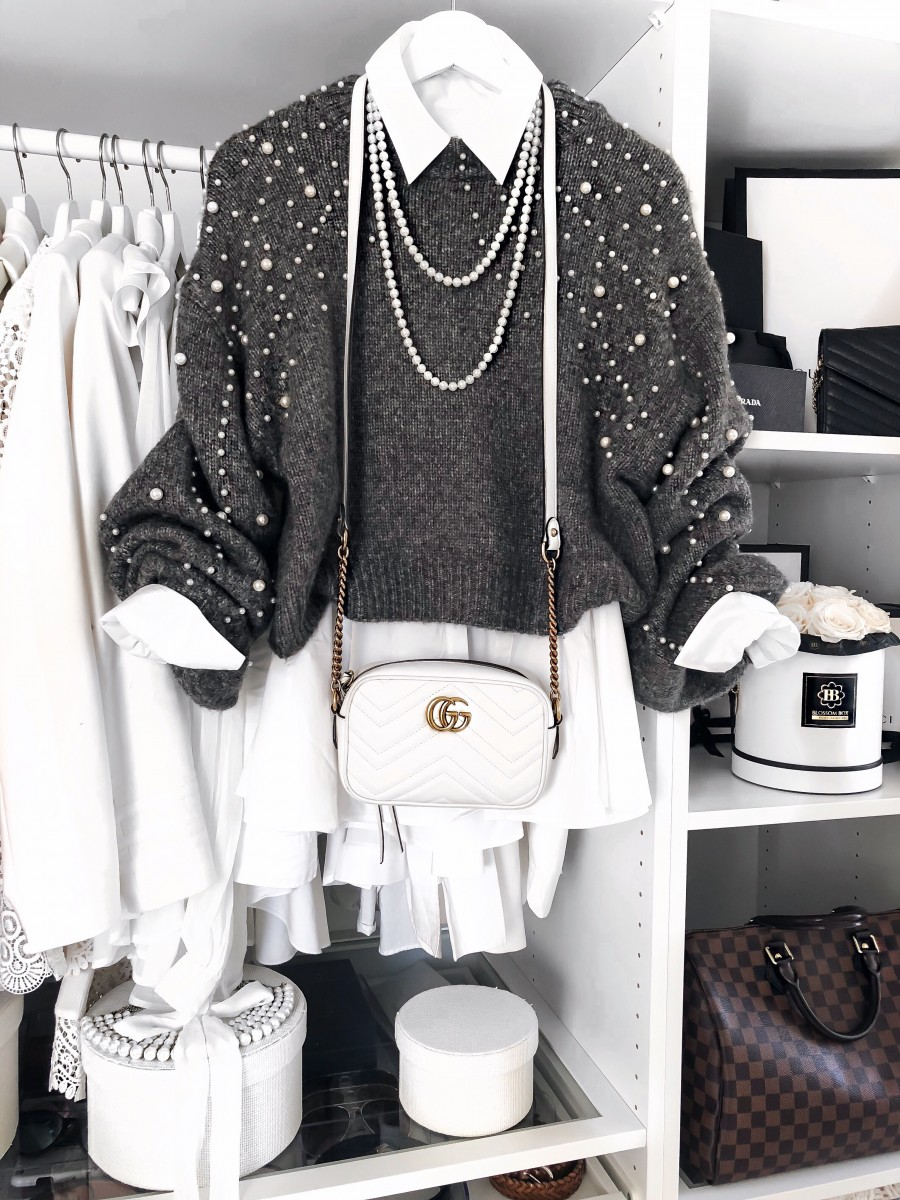 Zara Pearl Jumper and Gucci Marmont Bag